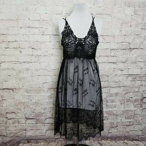 Essue Black Sheer Lace Lingerie Slip Nightgown